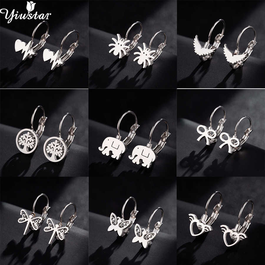Yiustar Stainless Steel Butterfly Stud Earrings for Women Girls Mini Elephant Dragonfly Earings Jewelry Kids Accessories Gifts