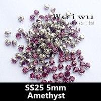 SS25 5.0mm Amethyst Sewing Rhinestones Crystal Stones Rhinestones In Claw Crystal Stones For Bags Garment Shoes