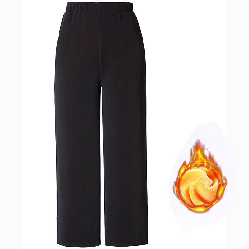 Winter Warm Long   Wide     Leg     Pants   Black Plus Size   Pants   5xl Womens Hight Elastic Waist Office Ladies Fleece Loose Midi Trousers