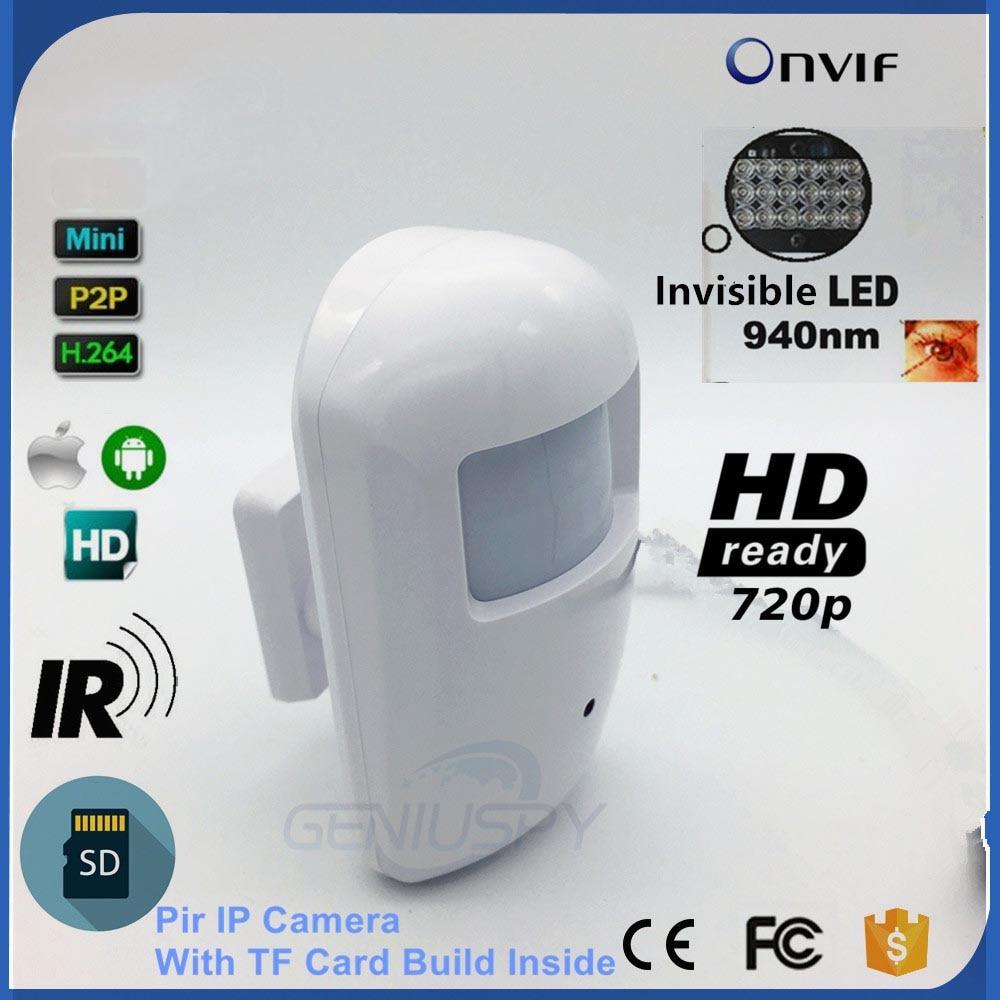 720 P HD Nihgt видение 940nm ИК-ПИР Камера детектор движения Стиль безопасность миниатюрный IP Камера Onvif Слот для карты SD аудио