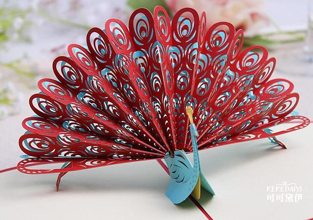 3d Pop Up Greeting Card Diy Peacock Birthday Easter