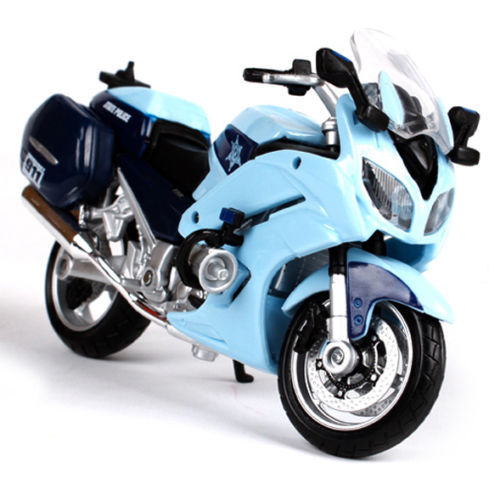 Maisto 1/18 Scale Diecast Motocycle YAMAHA FJR 1300A Police Moto Model Blue Color Kids Brinquedos New Year Gift