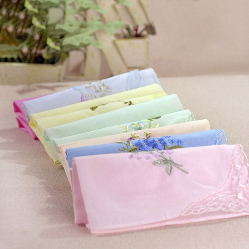 3 Pcs Women Square Handkerchief Floral Embroidered Candy Color Pocket Hanky Lace Patchwork Cotton Baby Bibs Portable Towel W77