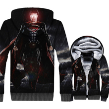 Superman Jacket Men Superhero 3D Print Hoodie Crossfit Hooded Sweatshirt Winter Thick Fleece Warm Zip up Coat Black Streetwear