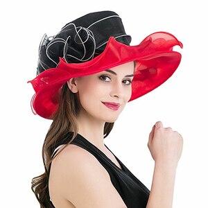 Image 2 - Women Derby Hat Luxury Ruffle Brim Floral Aside Patchwork Organza Wide Brim Hat Lady Spring Summer Sun Church Party Wedding Hat