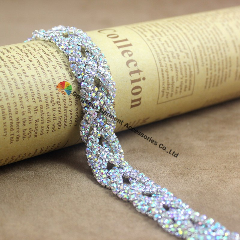 Aliexpress.com   Buy 1 yard Fashion AB Crystal Rhinestone Chain Braided  Costume Applique Bride Trims DIY Browbands wedding gown dress decoration  from ... 40887831fb60
