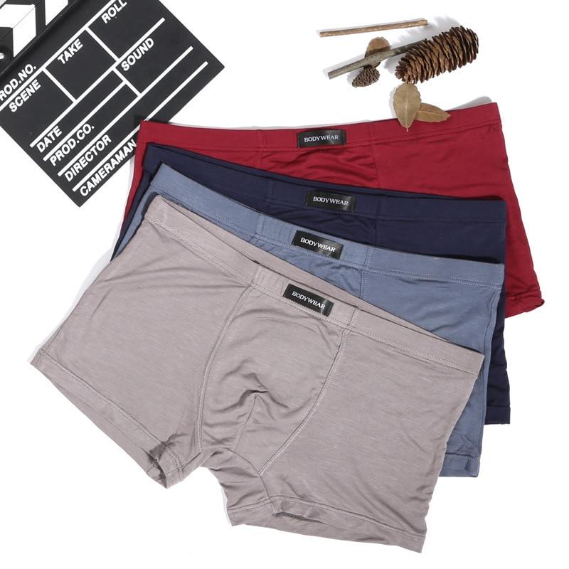 boxers men sexy underwear mens basic boxer shorts gay homme cotton spandex bamboo fiber L XX XL minimum4ps/lot gift boxes wine