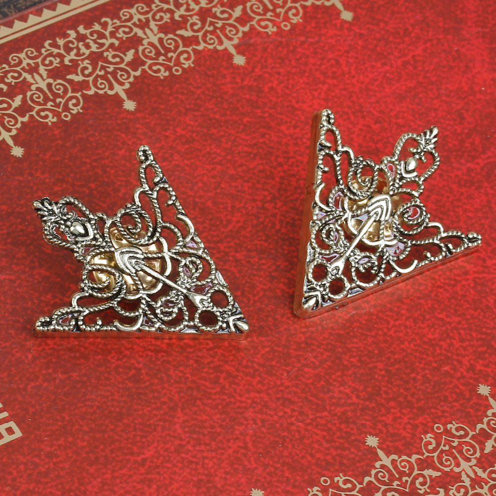 DoreenBeads 1Pair Metal Badges Tie Tac Lapel Backpack Pin Brooches Antique Bronze Arrowhead Filigree Shirt Blouse Accessories in Badges from Home Garden