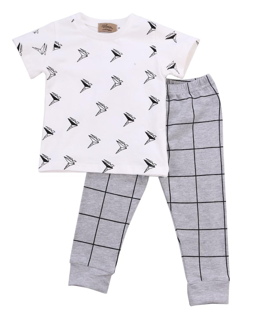 2pcs Newborn Infant Toddler Kids Baby Boy Summer Clothes Origami Short Sleeve T-shirt Tops+Plaid Long Pants Outfits Set