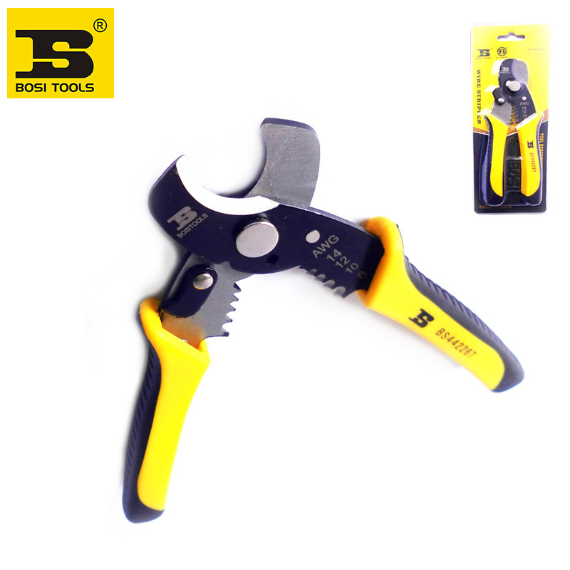 free shipping BOSI 7 AWG 1.6-3.2(8-14) wire stripper cable cutter combined plier 50# steel