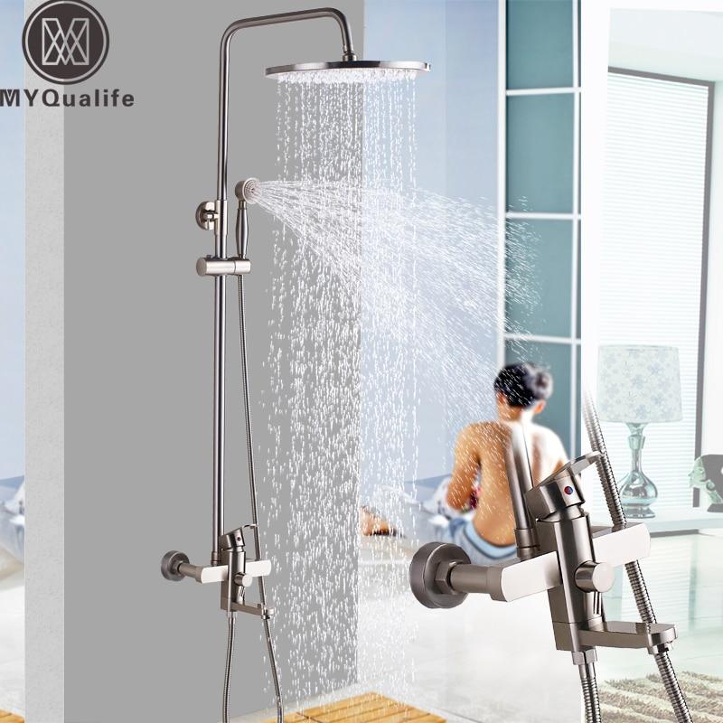 Brushed Nickel Rainfall Shower Mixer Faucet Wall Mount Swivel Spout Bath Shower Set Single Lever 16 Rain Shower Head wall mount brushed nickel shower head faucet tub spout mixer hand shower spray