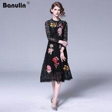 Banulin Fashion Runway Floral Midi Dresses 2019 Womens Gorgeous Lace Embroidery Vintage Black Long Dress Elegant Party