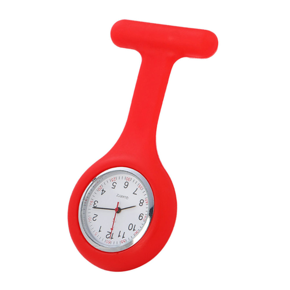 Fashion T-shaped Nurse Silicone Watch Multi Functional Silicone Red Clock Stopwatch Casual Nurse Pocket Watch