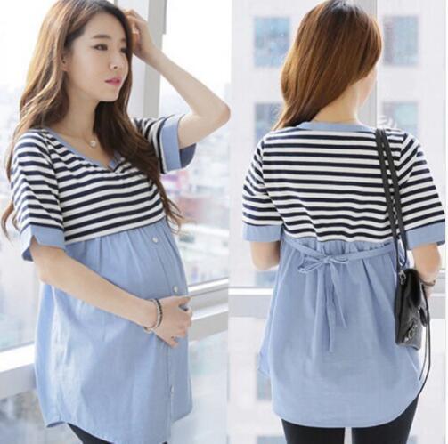 Ladies Breastfeeding Blouses Feeding Cotton Maternity Shirt Pregnancy Tops Nursing Shirts Maternity Clothes for Pregnant Women