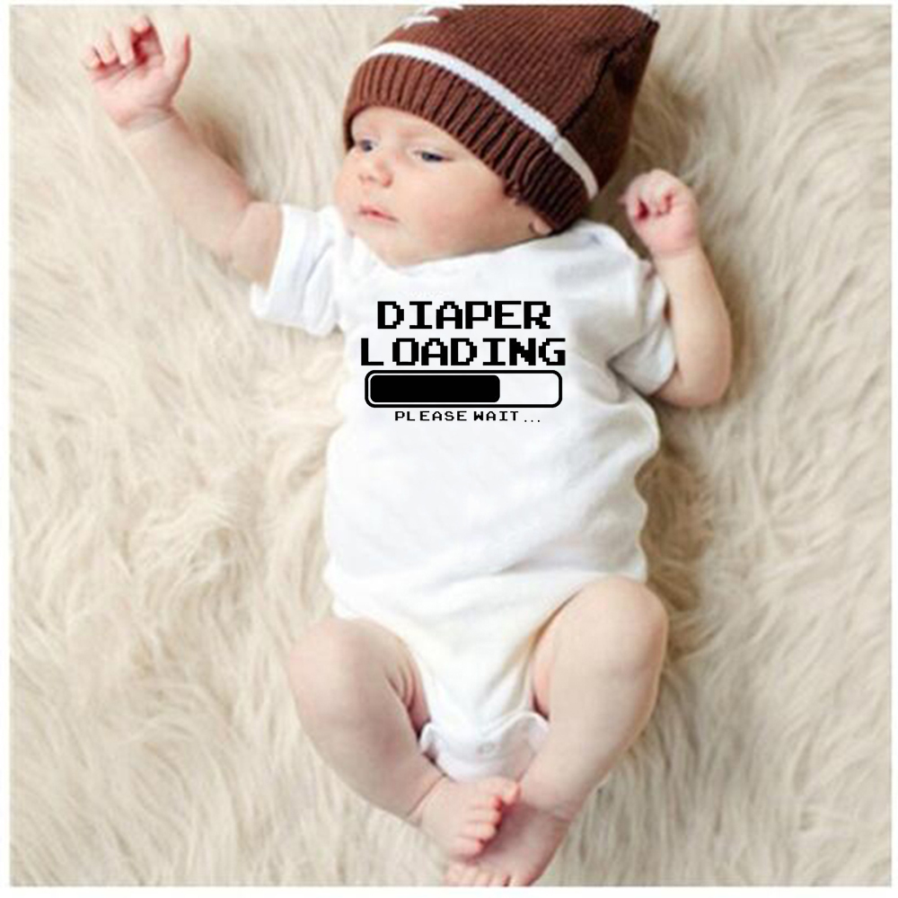 4b63d0511 Funny letter print Diaper is loading please wait Baby Boy Clothes Baby  Rompers Newborn girl Clothing Jumpsuit roupa de bebe