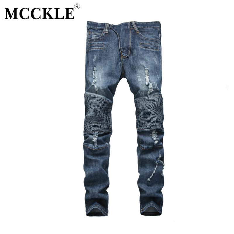 MCCKLE 2017 New Ripped Pleated Biker Jeans Men Hip Hop With Holes Destroyed Denim Skinny Slim Fit Pants Stretch  Jeans Trousers streetwear men casual motorcycle biker destroyed denim jeans slim fit skinny straight ripped pants fashion hip hop punk jeans