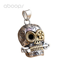 Gothic Two Tone 925 Sterling Silver Skull with Key Necklace Pendant for Men Boys Free Shipping