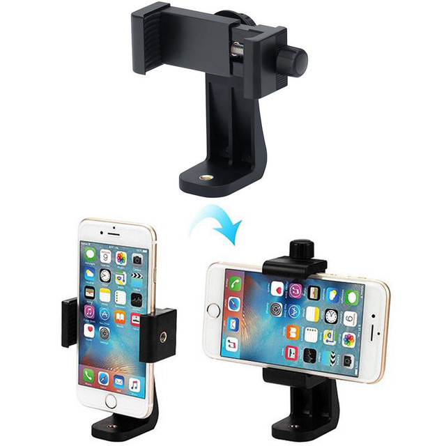 Universal Tripod Mount Adapter Cell Phone Clipper Holder Vertical 360 Rotation Tripod Stand for iPhone X 8 plus Samsung