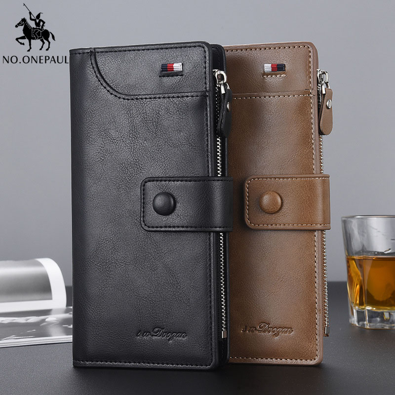 Long and high quality zipper wallet men's long wallet European and American fashion classic multi-function hand purse gift title=