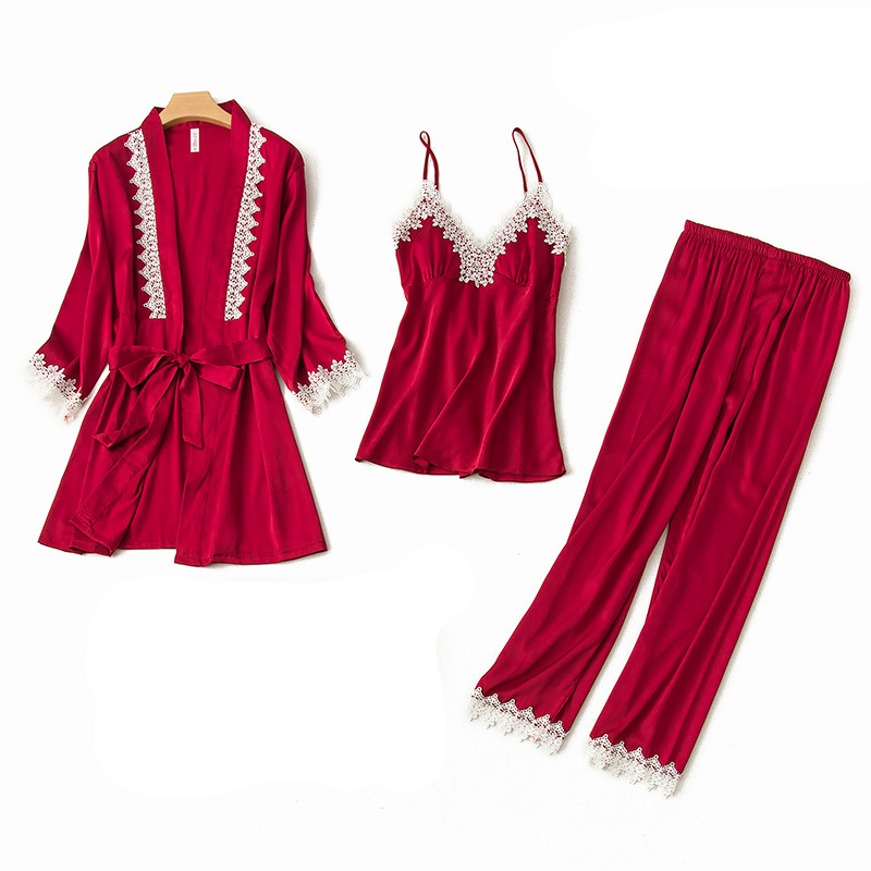 Female Spring New Satin   Pajamas     Set   Sexy Laxe Rtim Solid Home Clothes Casual Sleep Clothing 3PCS Nightgown Pyjamas Suit M-XL