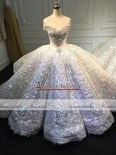 דובאי יוקרה חתונה שמלת 2020 אמנדה Novias אמיתי עבודה 100% למעלה איכות שמלת כלה