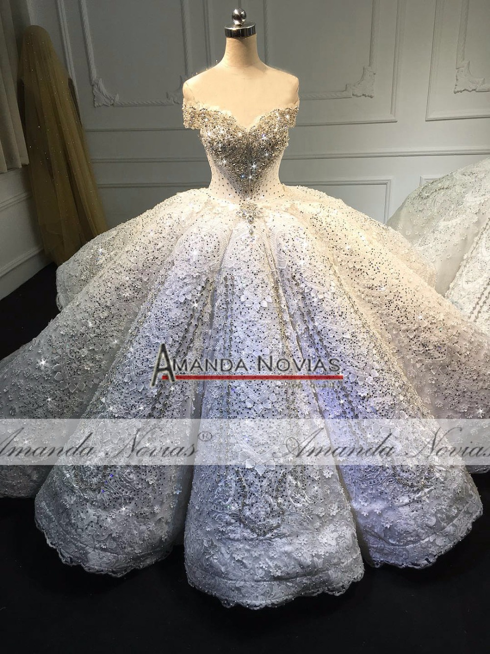 Dubai Luxury Wedding Dress 2019 Amanda Novias Real Work 100% top quality wedding gown