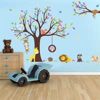 Cartoon uil leeuw aap giraffe boom dieren wereld muurstickers voor woonkamer wall art decor diy removeable stickers gift