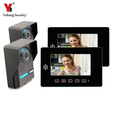 Yobang Security 7 inch Video DoorPhone Intercom System 2 Outdoor Units+2 Indoor Units Touch Keypad Visual Doorbell Door Camera