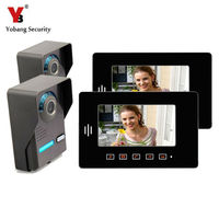Yobang Security 7 Inch Video DoorPhone Intercom System 2 Outdoor Units 2 Indoor Units Touch Keypad