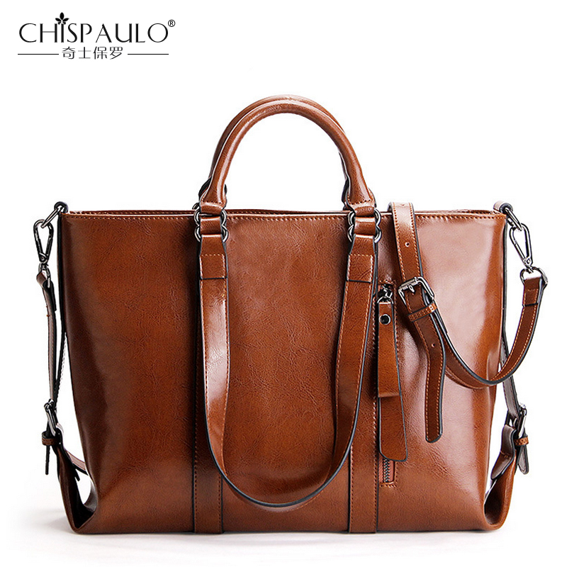 Oil Wax Genuine Leather Women Messenger Bags Women Bags Handbags Women Famous Brands Big Shoulder Bags