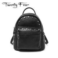 Twenty Four Women Fashion Backpack Genuine Leather Rock Style Back Pack Female Heart Rivet Bag Softback