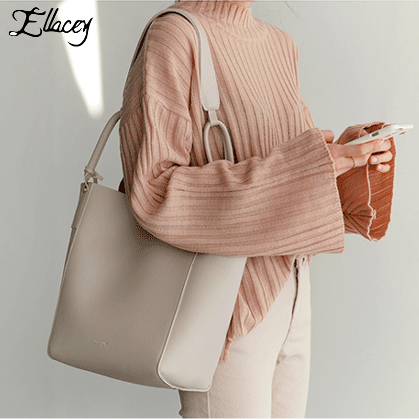 New 2018 Women 2 Pieces Set Composite Bag Soft PU Leather Tote Bags Brief Fashion Buckets Handbags Casual Large Shoulder Bag chic minimalist faux leather 2 pieces shoulder bag set