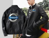 Men's volvo leather hooded jacket punk high end car zipper hooded motorcycle leather slim motorcycle leather jacket