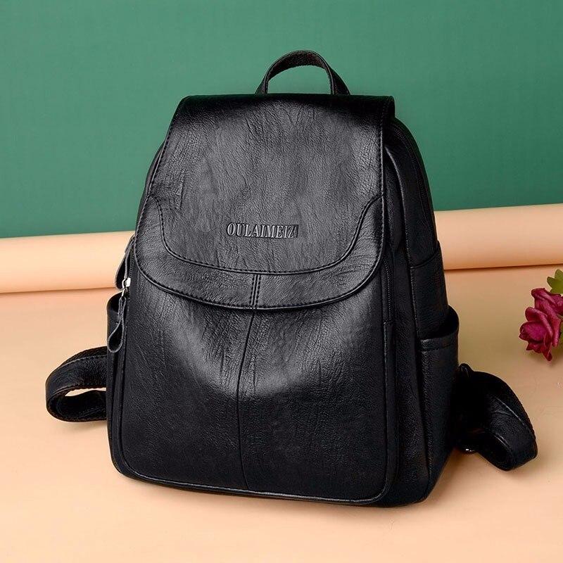 HTB1gvcJahrvK1RjSszeq6yObFXaU 2019 Female Leather Backpacks High Quality Sac A Dos Ladies Bagpack Luxury Designer Large Capacity Casual Daypack Girl Mochilas