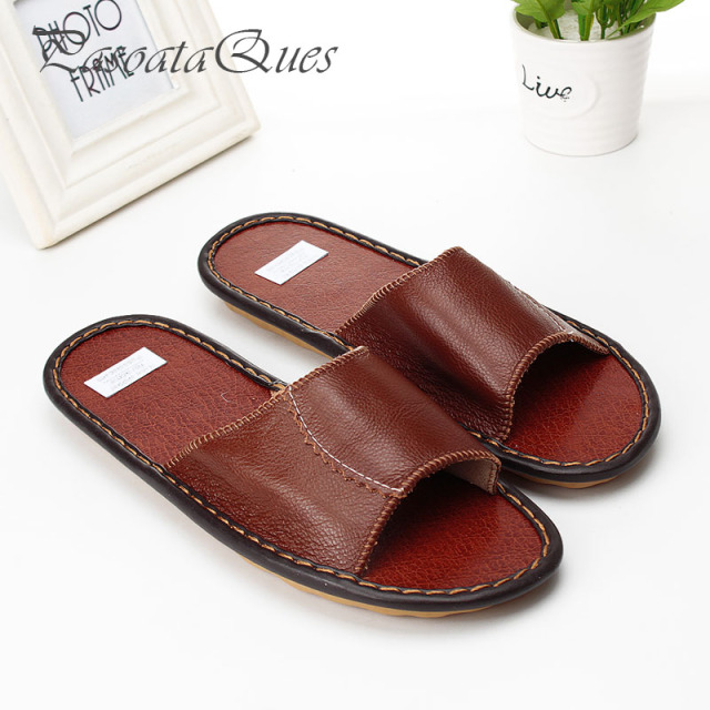 b72534d018deba Real Leather Women Men Slippers Peep Toe Indoor Summer Home Spring House  Breathable Women Shoes Pasoataques Brand Asspfle097