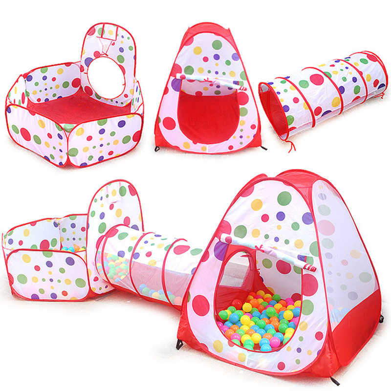 3pc Kids Play Tent Crawl Tunnel and Ball Pit Pop Up Playhouse Tent with Basketball Hoop for Children Indoor /Outdoor Ocean Ball