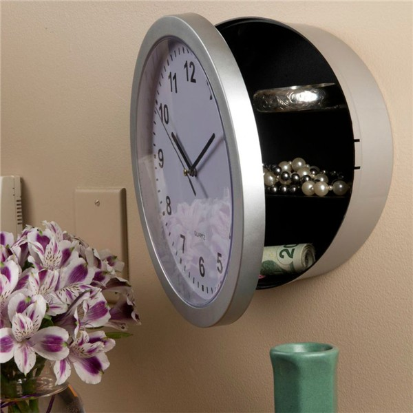 NEW Wall Clock Hidden Secret Safe Box for Cash Money Jewelry Storage Security Safes steel safe box key lock money jewelry storage security box for home school office with compartment tray lockable safes size xl
