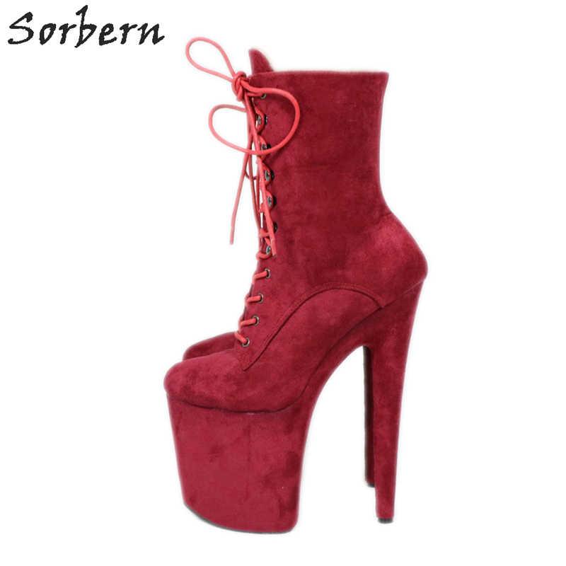 Sorbern Şarap Kırmızı yarım çizmeler Extreme Yüksek Topuklu Devious Ayakkabı Fetiş Topuklu 8 Inç Daha Fazla Renk Seksi Egzotik Kutup Dans Patik