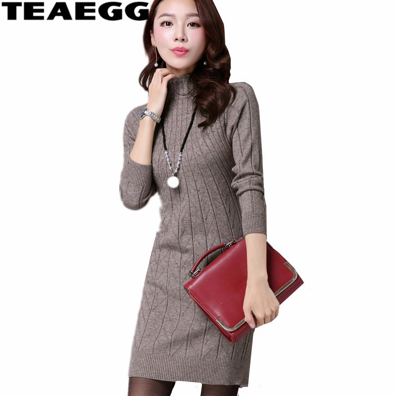 TEAEGG Mini Coffee Sweater Dress Women Clothes Elasticity Autumn Dresses For Lady Half Turtleneck Long Sleeve Knitted DressAL645