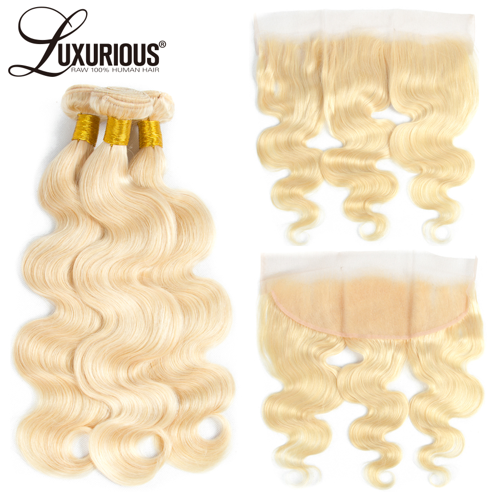 Blonde Hair Bundles With Lace Frontal 13 4 Ear to Ear Remy Blonde Brazilian Body Wave