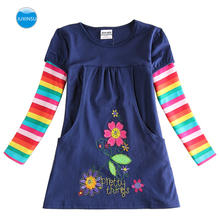 JUXINSU Cotton Girls Flower Long Sleeve Dress Rainbow Autumn Winter Casual Clothing for Baby Girl 1-8 Years