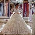 Новый Саудовская ArabiaBridal Puffy Boat Neck Vestidos De Noiva Com Манга лонга Бальное платье Кружева Длинный Шлейф Свадебного Платья С Задней Лук