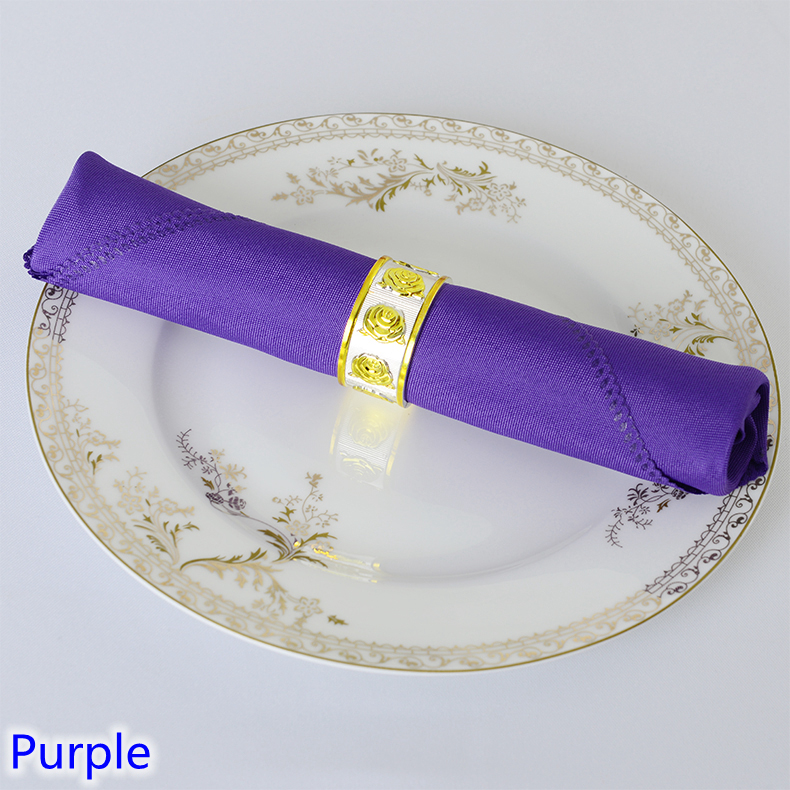 Purple colour napkin plain polyester fabric napkin for wedding hotel and restaurant table decoration wrinkle and stain resistant