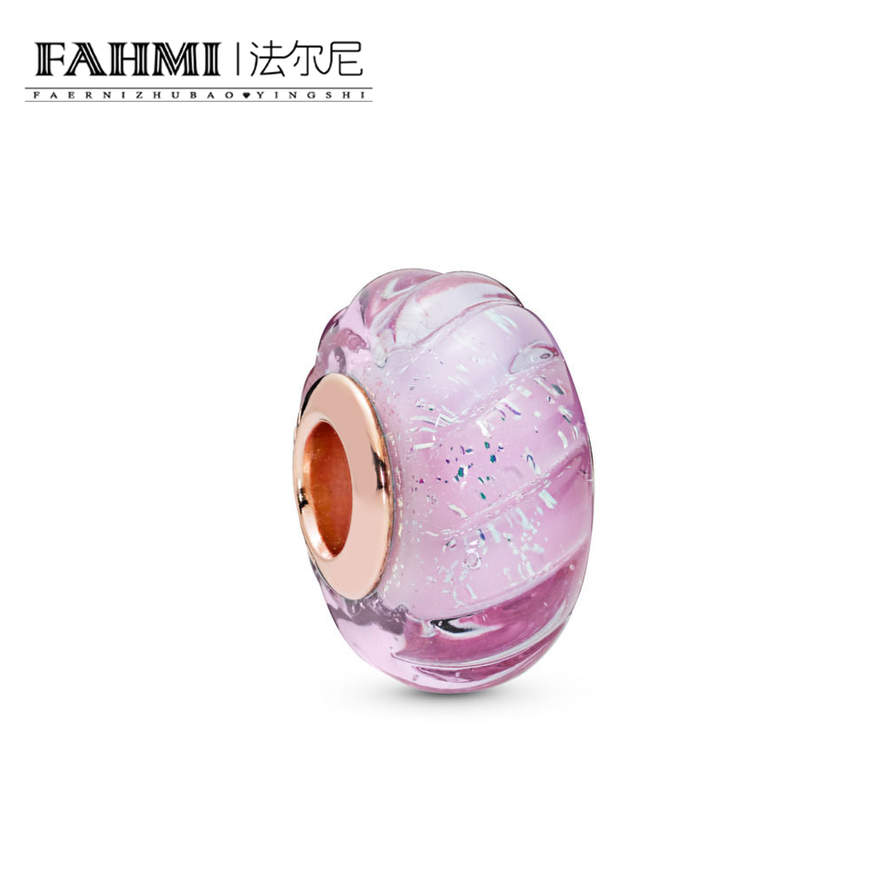FAHMI 100% 925 Sterling Silver New 2019 Spring 788107 Rose Glittering Grooves Murano Charm Fit DIY Bracelet Original JewelryFAHMI 100% 925 Sterling Silver New 2019 Spring 788107 Rose Glittering Grooves Murano Charm Fit DIY Bracelet Original Jewelry