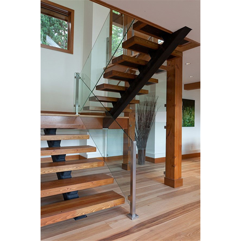 Foshan Stair Supplies Home Builders Glass Railing Wood Stair | Glass Railing With Wood Handrail | Modern | Interior | Panel | Metal | Residential