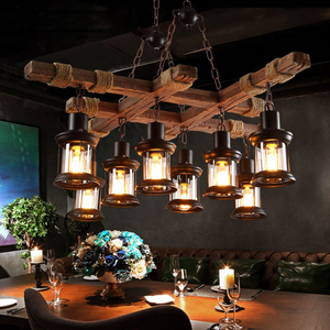 Image 3 - レトロバー産業風シャンデリアロフト木製人格レストランコーヒーショップ産業シャンデリア