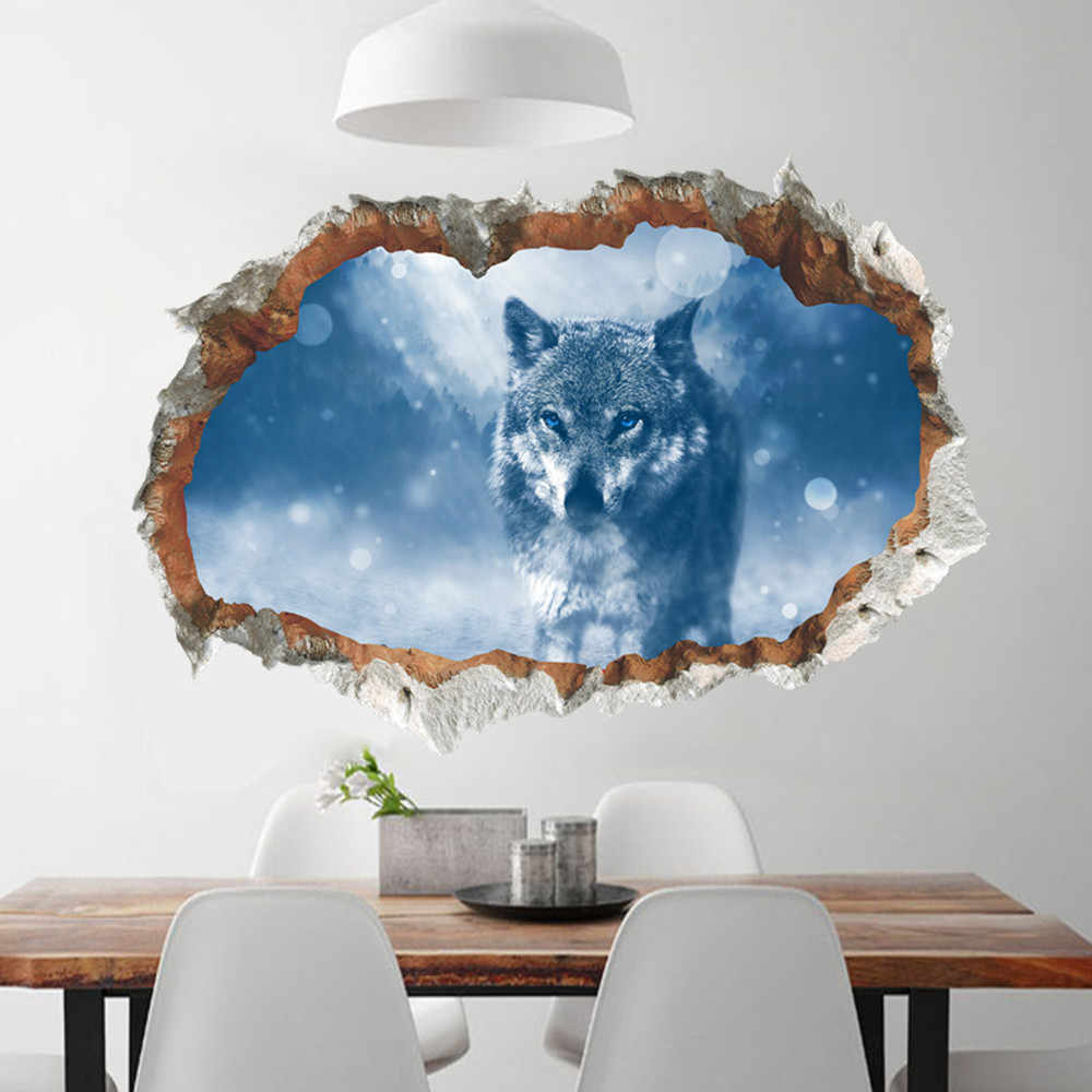 Moonlight Wolf wall stickers for kids rooms bedroom home decor 3d vivid wall decals pvc mural art diy poster Removable Kids