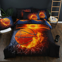 3D Bed Set Basketball Football Duvet Cover Sets Soccer Ball on Fire&Water Single Size Bed Cover Full Size Bed Linen Bedding Kit