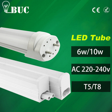 LED Tube lamp 6W 10W 220V 240V 30cm 60cm LED Wall light Cold White LED Fluorescent T5 T8 Neon LED T5 Lamp PVC Plastic