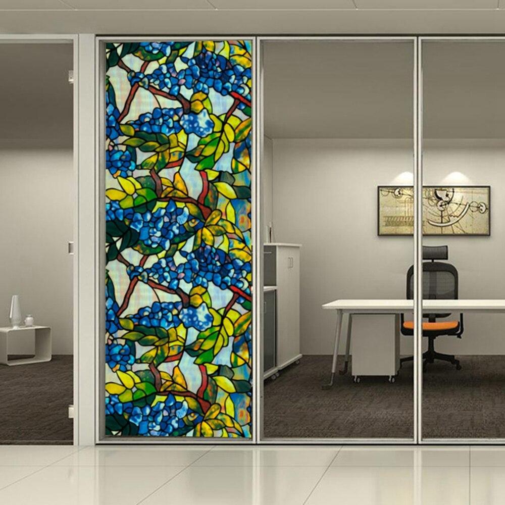 Chambre salle de bains PVC fenêtre confidentialité Films sans colle 3D statique fleur décoration fenêtre verre autocollant taille 36''x65. 61ft
